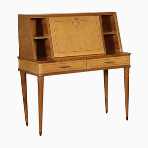 Walnut and Burl Veneer Drop-Leaf Desk, 1950s