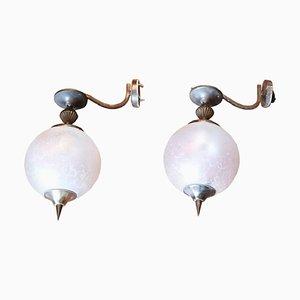 Apliques vintage de bronce y vidrio, años 30. Juego de 2