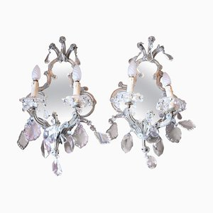 Antique Wall Mirror and Crystal Drop Sconces, Set of 2