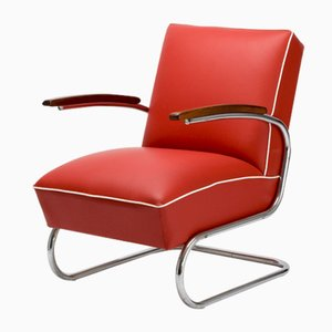 Vintage Bauhaus Tubular Steel S 411 Armchair by Beck for Kovona