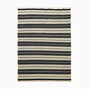 Handwoven Cotton and Wool Black and Beige Kilim Carpet, 1970s