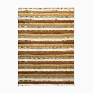 Handgewebter Kelim Teppich aus Baumwolle & Wolle in Ocker, Beige & Blau, 1970er