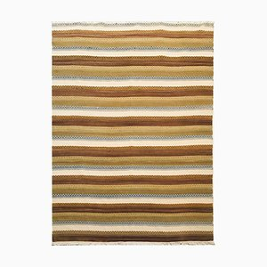 Handwoven Cotton and Wool Ocher, Beige, and Blue Kilim Carpet, 1970s