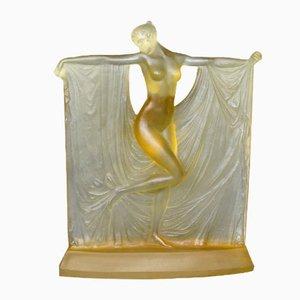 Gelbe Suzanne Skulptur aus Glas von R. Lalique, 1920er