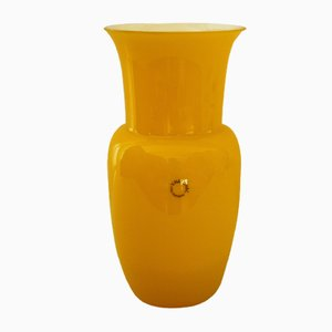 Vase en Verre Opalin Jaune par Carlo Nason pour V. Nason & C., 1990s