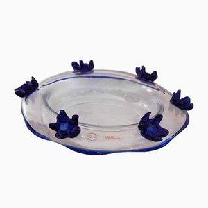 Vintage Schale mit blauem Dekor von Roberto Pezzetta, 1997