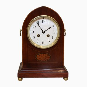 Antique Edwardian Mahogany and Inlaid Lancet Top Mantel Clock