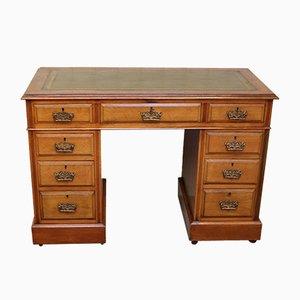Antique Edwardian Light Oak Pedestal Desk