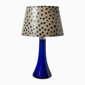 Mid-Century Blue Glass Table Lamp from Lindshammar, 1960s