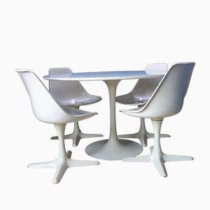 Juego de mesa y sillas de comedor de Maurice Burke para Arkana, años 60. Juego de 4