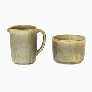 Stoneware Pitcher and Bowl by Per Linnemann Schmidt for Palshus, 1960s
