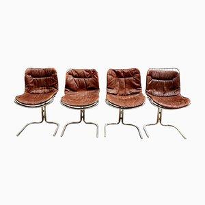 Esszimmerstühle mit Drahtgestell & Lederauflage von Gastone Rinaldi für Rima, 1974, 4er Set
