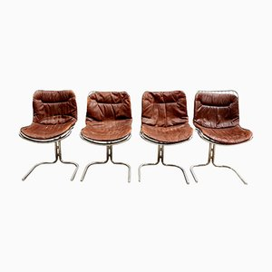 Leather and Wire Dining Chairs by Gastone Rinaldi for Rima, 1974, Set of 4