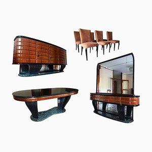 Juego de mesa de comedor y sillas italianas Mid-Century de palisandro de Vittorio Dassi para Dassi Mobili Moderni, años 50. Juego de 9