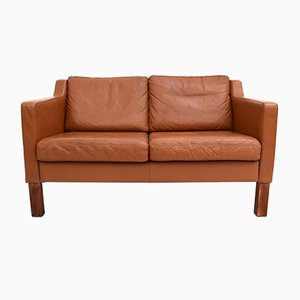 Mid-Century Danish Tan Brown Leather Two-Seater Sofa, 1960s