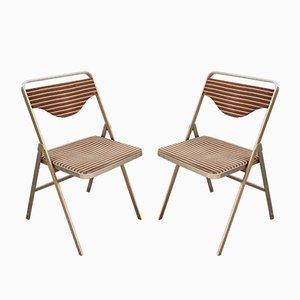Sedie pieghevoli in metallo e stoffa di Formanova, anni '60, set di 2