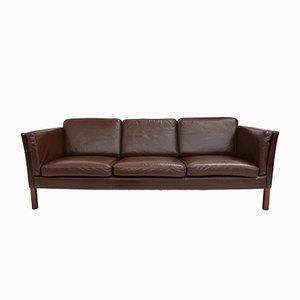 Mid-Century Danish Dark Brown Leather Three-Seater Sofa, 1960s