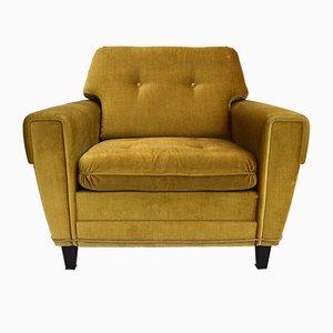 Mid-Century Danish Golden Green Velvet Armchair, 1970s