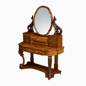 Antique Victorian Burr Walnut Dressing Table