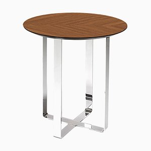 Table d'Appoint Ronde en Noyer par Jacobo Ventura pour CA Spanish Handicraft