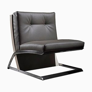 Walnut & Eco Leather Armchair with Chrome Legs by Jacobo Ventura for C.A. Spanish Handicraft