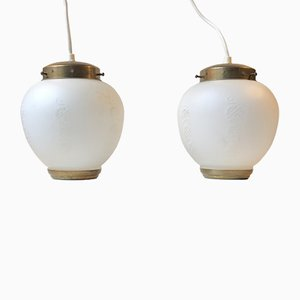 Scandinavian Modern Brass and Opaline Glass Ceiling Lamps, 1950s, Set of 2