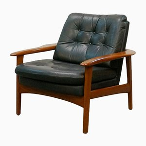 Teak and Leather Armchair, 1960s