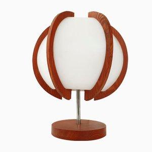 Lámpara de mesa vintage de pino, acero y plástico, años 60