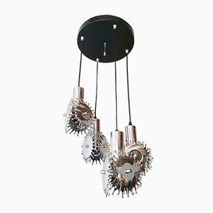 Lampe à Suspension Cascade Vintage en Acier Chromé et Plastique, années 70