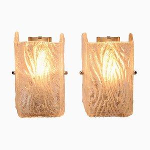 Lámparas de pared de vidrio texturizado de Kalmar, años 60. Juego de 2
