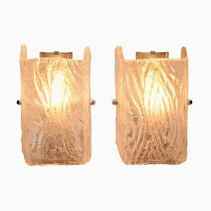 Textured Glass Wall Lights from Kalmar, 1960s, Set of 2