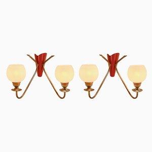 Lámparas de pared italianas vintage de dos brazos, años 60. Juego de 2