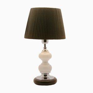 Lámpara de mesa holandesa vintage de vidrio opalino y cromo