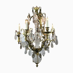 Lámpara de araña francesa antigua de bronce dorado y cristal, década de 1850