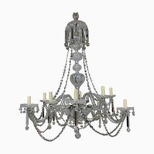 Lámpara de araña inglesa antigua grande de cristal tallado