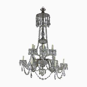 Lámpara de araña antigua grande de cristal tallado