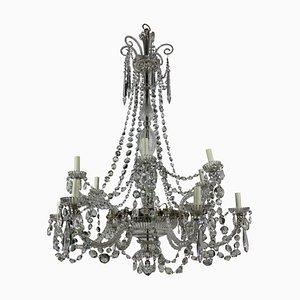 Lámpara de araña neoclásica antigua de cristal tallado de Perry & Co.
