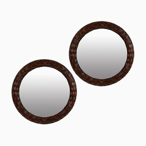 Circular Vintage Art Deco Mahogany Laurel Mirrors, 1930s, Set of 2