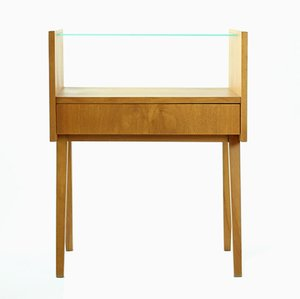Wood and Glass Bedside Tables from Nabytok Bratislava, 1960s, Set of 2