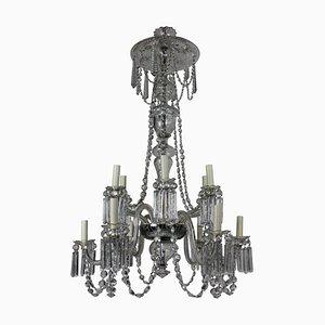 Lámpara de araña eduardiana antigua de vidrio tallado y vidrio soplado