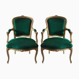 Antike französische Armlehnstühle mit Holzgestell & smaragdgrünem Bezug 1780er, 2er Set
