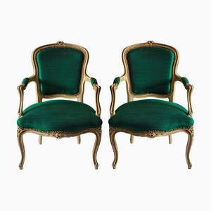 Antique French Emerald Silk and Wooden Armchairs, 1780s, Set of 2