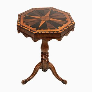 Antique English Wooden Geometric Marquetry Side Table, 1820s