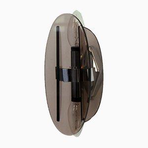 Aplique Mid-Century de acero y cristal ahumado de Veca, años 60