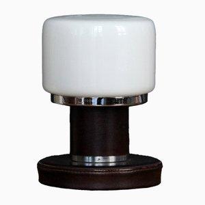 Lámpara de mesa Mid-Century de vidrio opalino, cuero y cromo