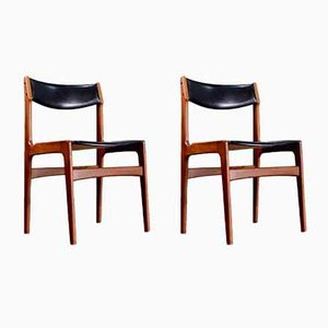 Chaises de Salle à Manger en Teck et Cuir par Erik Buch, 1960s, Set de 2