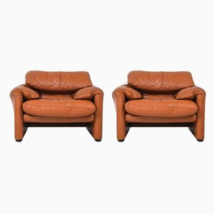 Club chair Maralunga in pelle color cognac di Vico Magistretti per Cassina, 1974, set di 2