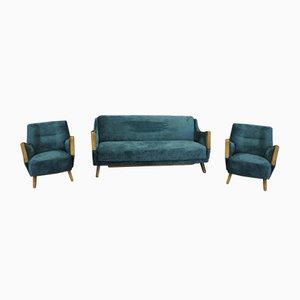 Juego de sofá y butacas, años 60. Juego de 3