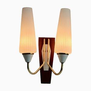 Lámpara de pared italiana vintage de dos brazos, años 60