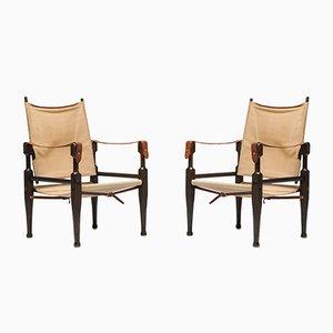 Safari Chairs by Kaare Klint for Rud Rasmussen, 1960s, Set of 2